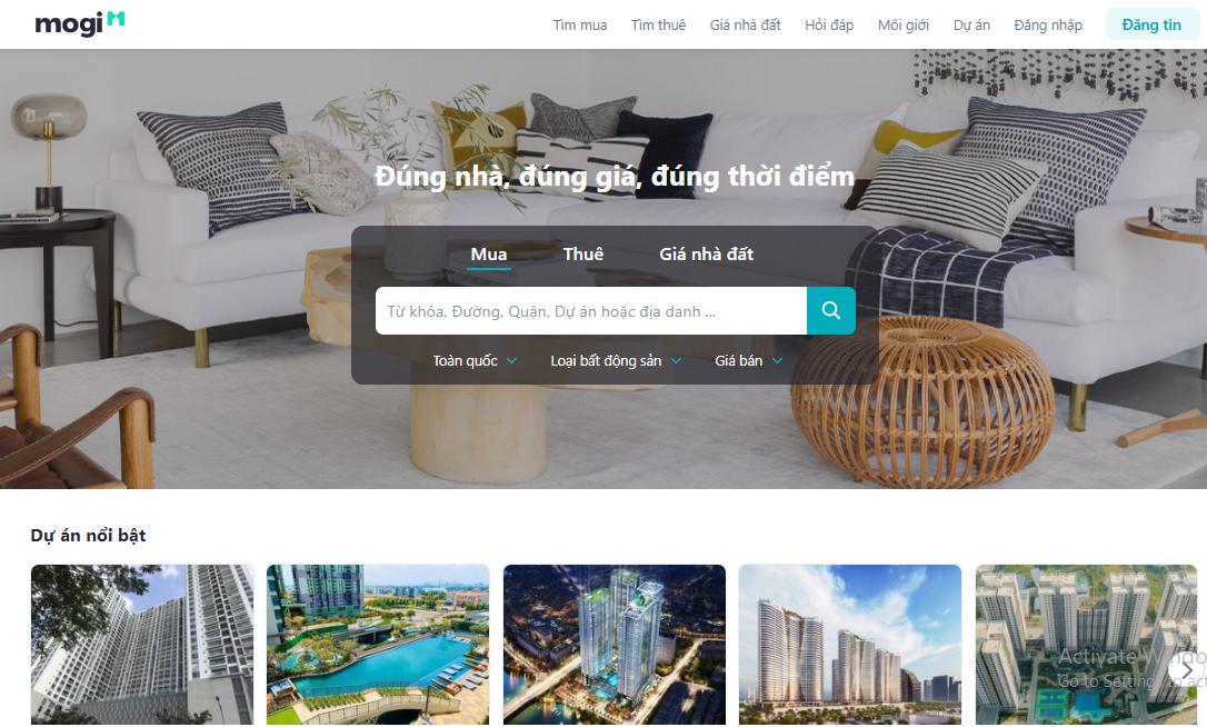 Website chuyên đăng tin bất động sản Mogi.vn