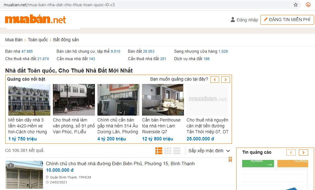 Tại Muaban.net bạn có thể đăng tin bán bđs hoặc mua bán, trao đổi bất cứ các mặt hàng nào.