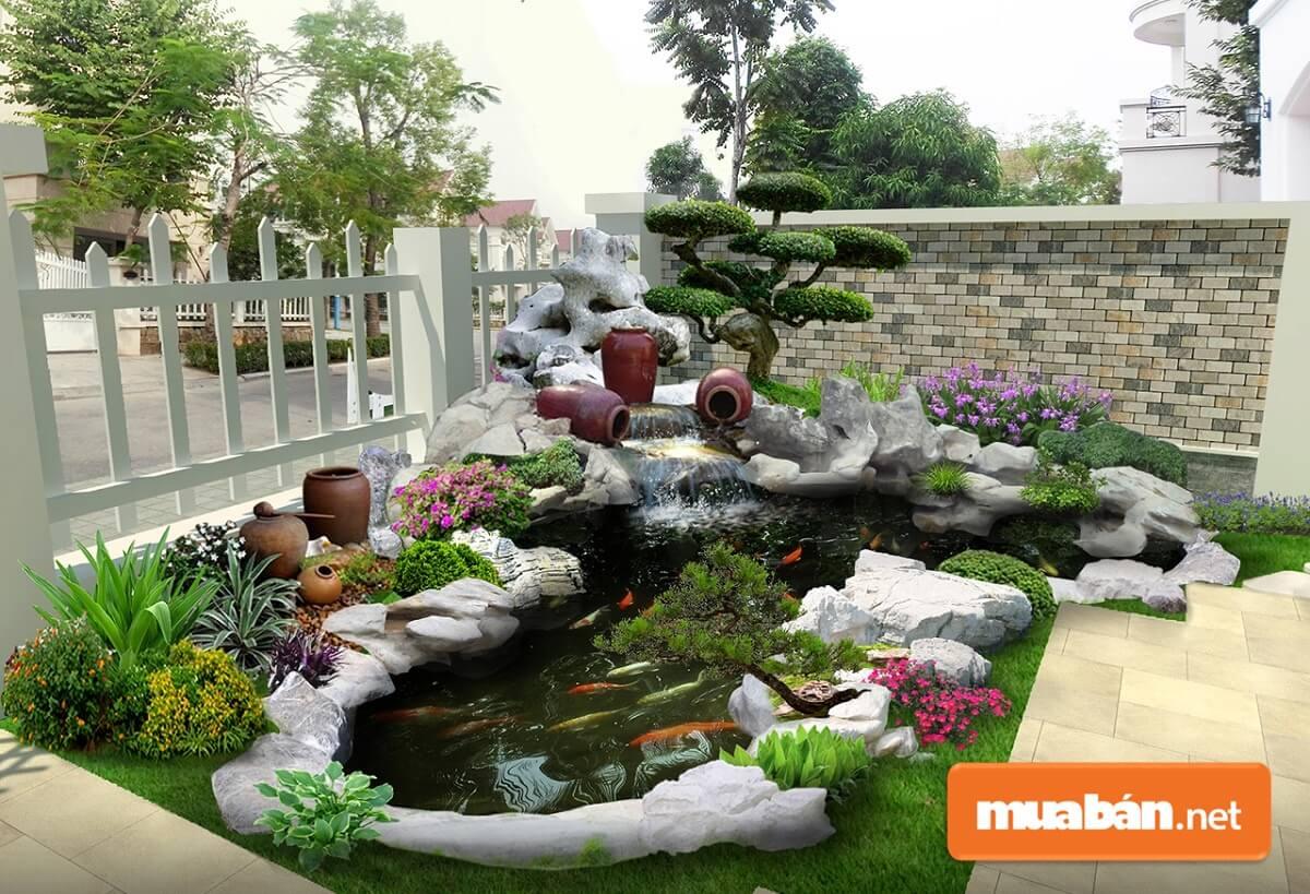Tiểu cảnh sân vườn được ví như vườn thu nhỏ. Nơi đây có sự kết hợp các yếu tố cây, nước, núi để tạo nên không gian vườn gần gũi với thiên nhiên.