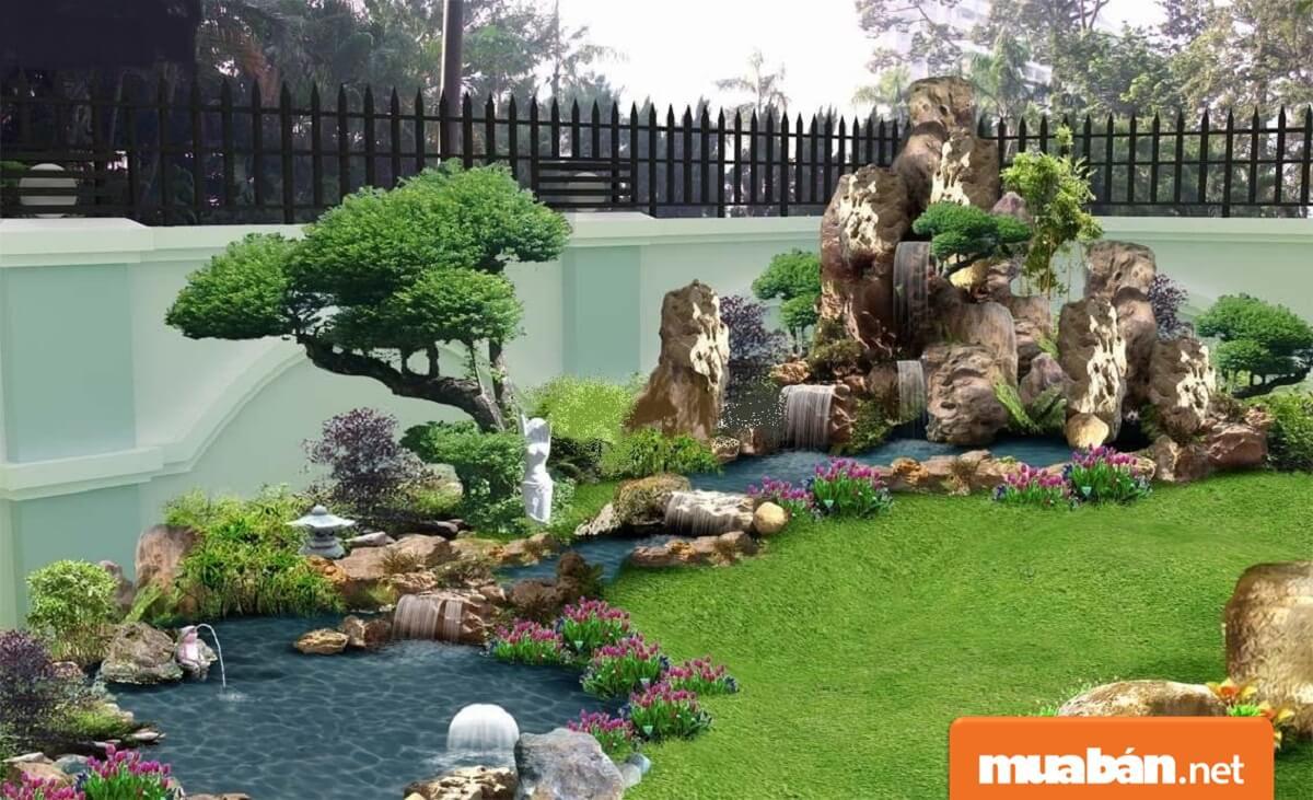 Tiểu cảnh sân vườn mini chủ yếu bao gồm cây và nước