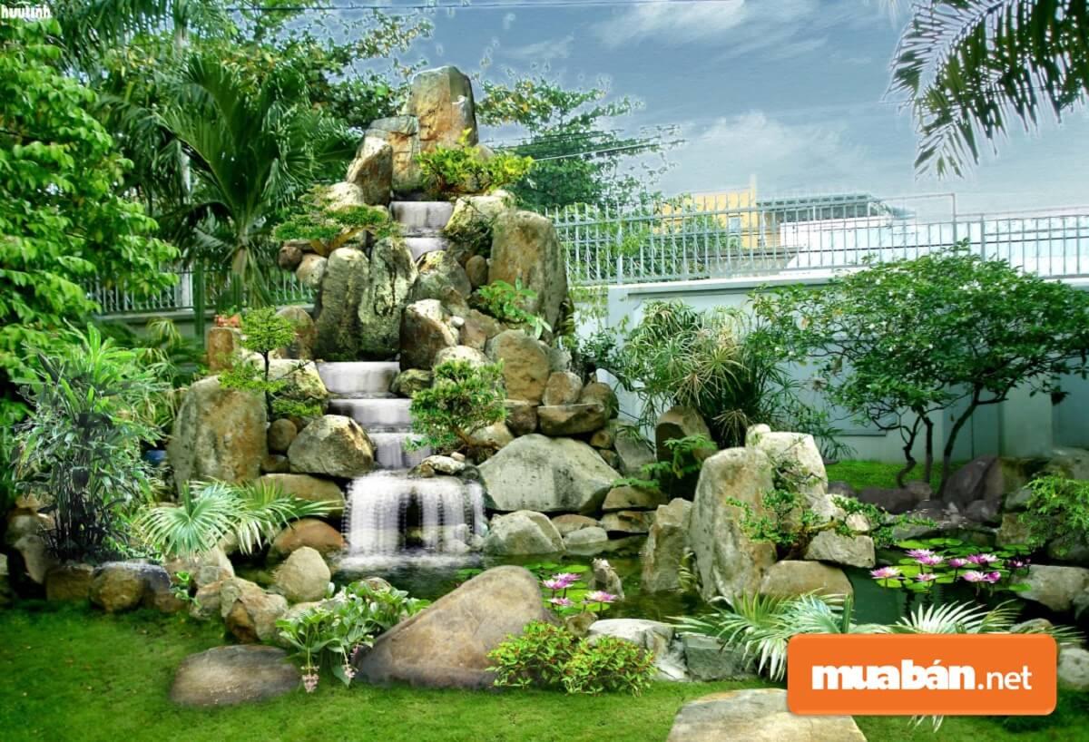 Yếu tố thác nước trong phong thủy mang ý tưởng khá tốt lành nên thường được dùng khi thiết kế tiểu cảnh.