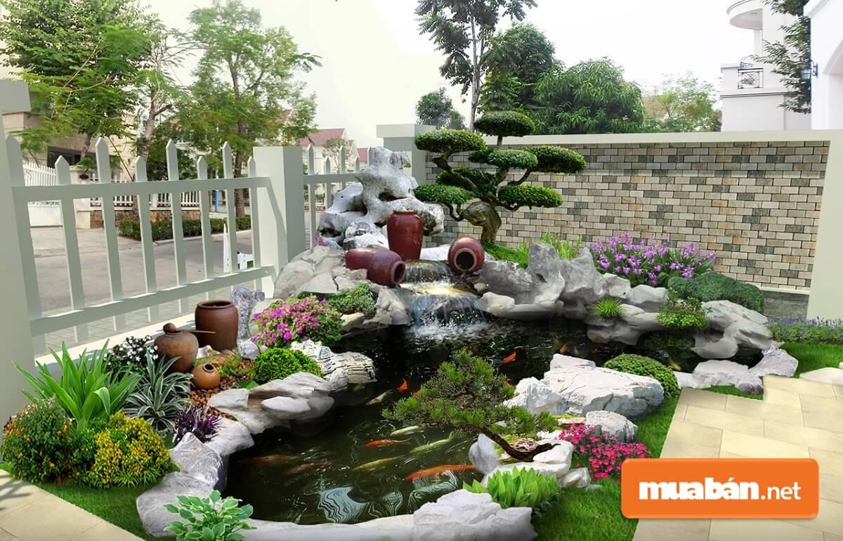 Loại tiểu cảnh này có yếu tố nước kết hợp giữa hồ cá hoặc thác nước với núi, cây xanh, hoa cỏ, …