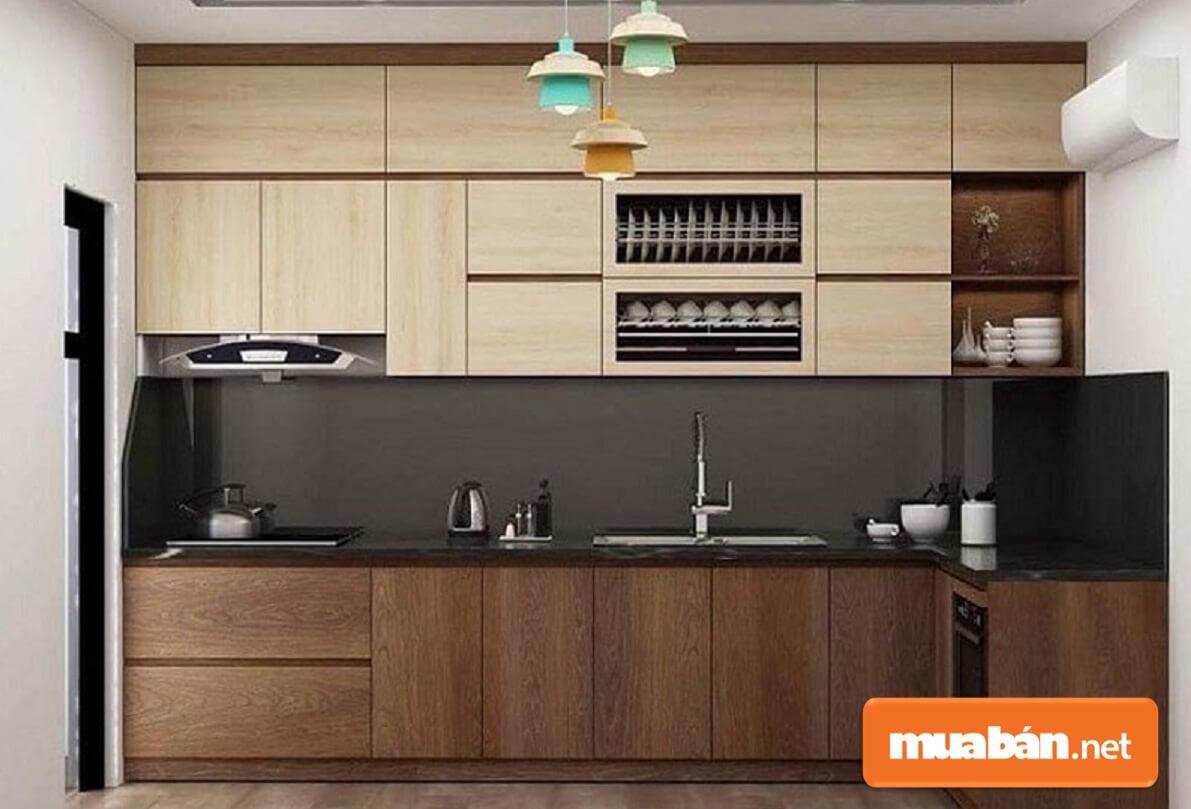 Tủ bếp Laminate vân gỗ giúp không gian bếp thêm phần ấm cúng